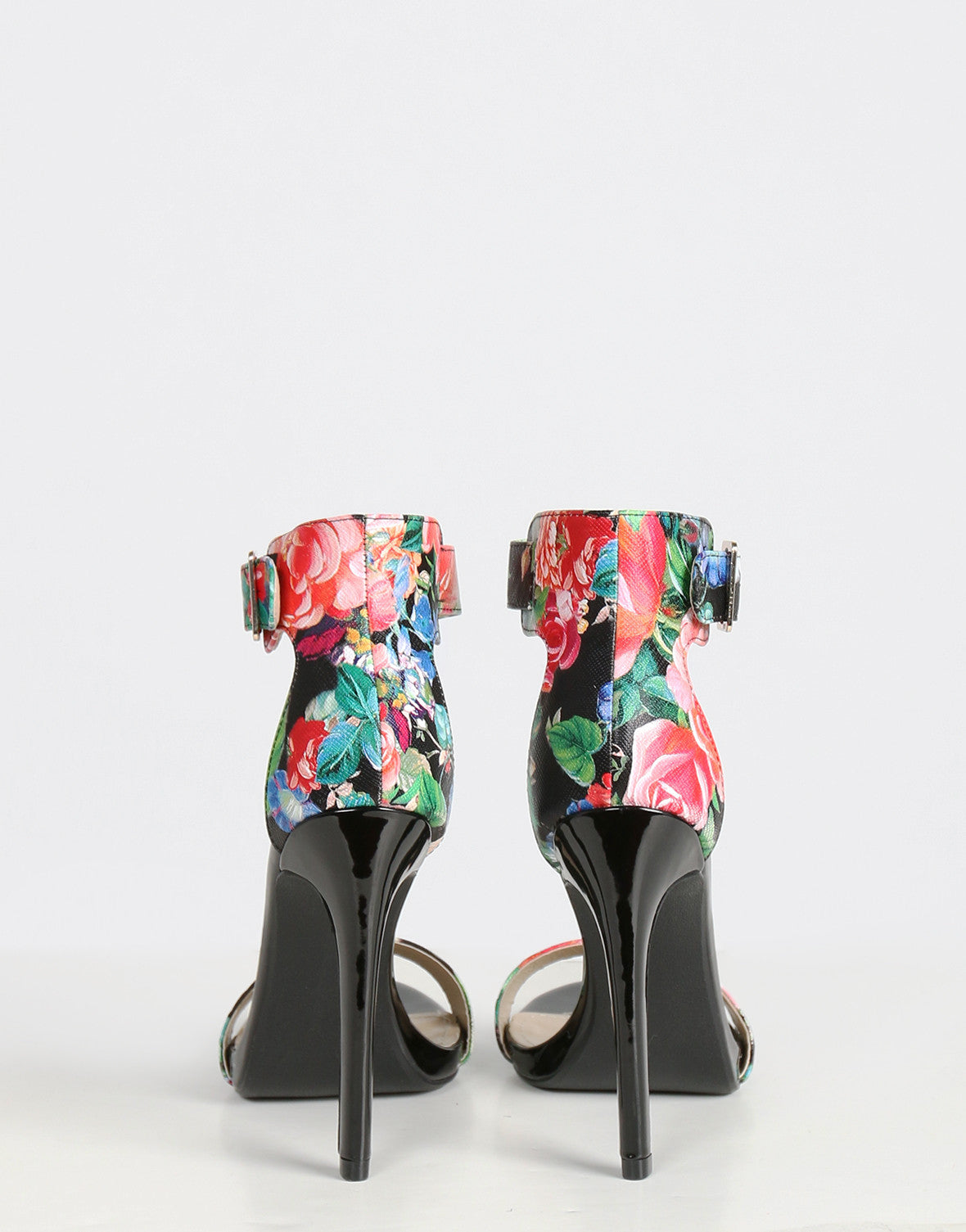 Flower Ankle Buckle Strapped Stilettos