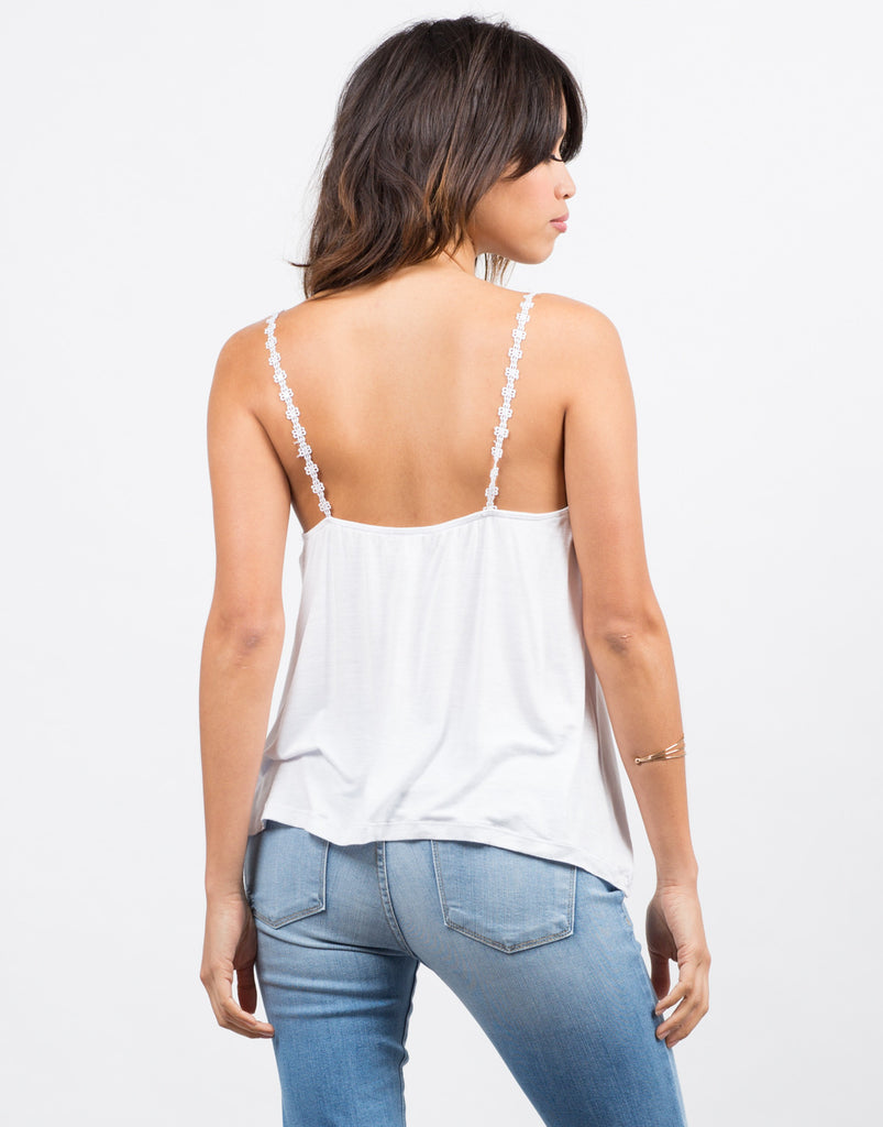 Flower Strap Sharkbite Tank - White - 2020AVE
