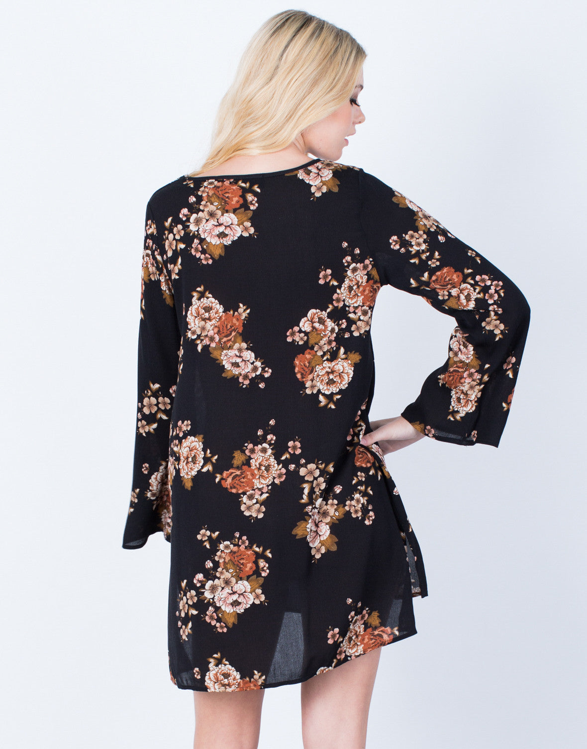 Back View of Flowy Autumn Floral Dress