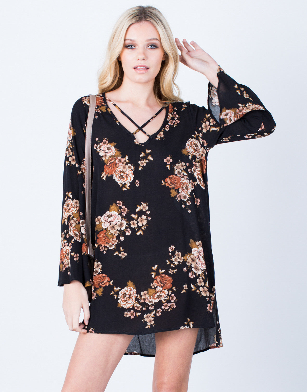 Front View of Flowy Autumn Floral Dress