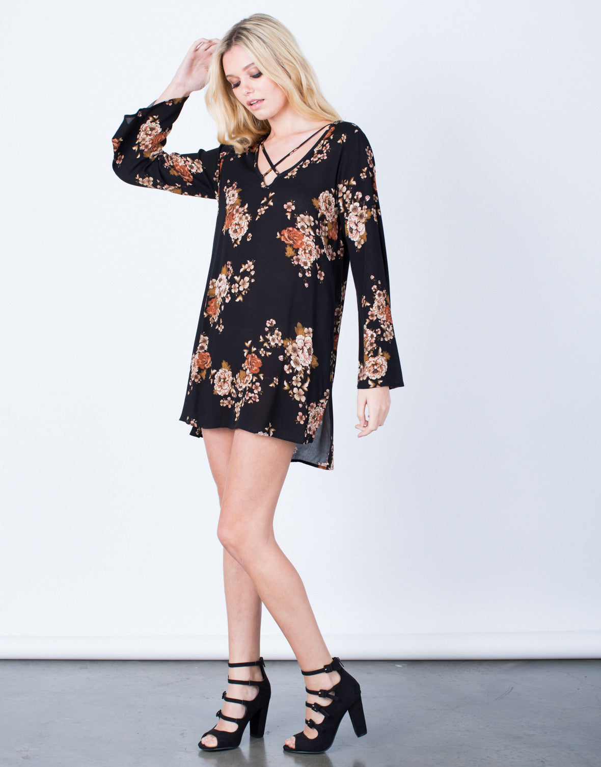 Side View of Flowy Autumn Floral Dress