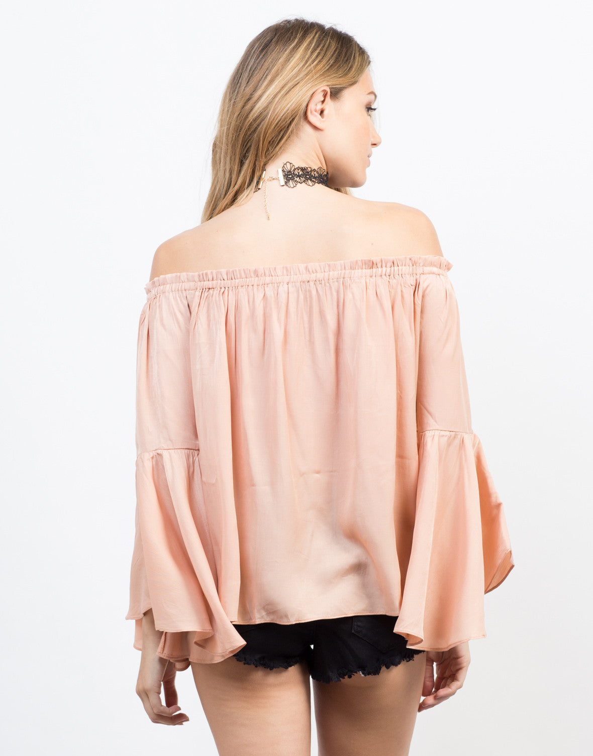 Back View of Flowy Bell Sleeved Top