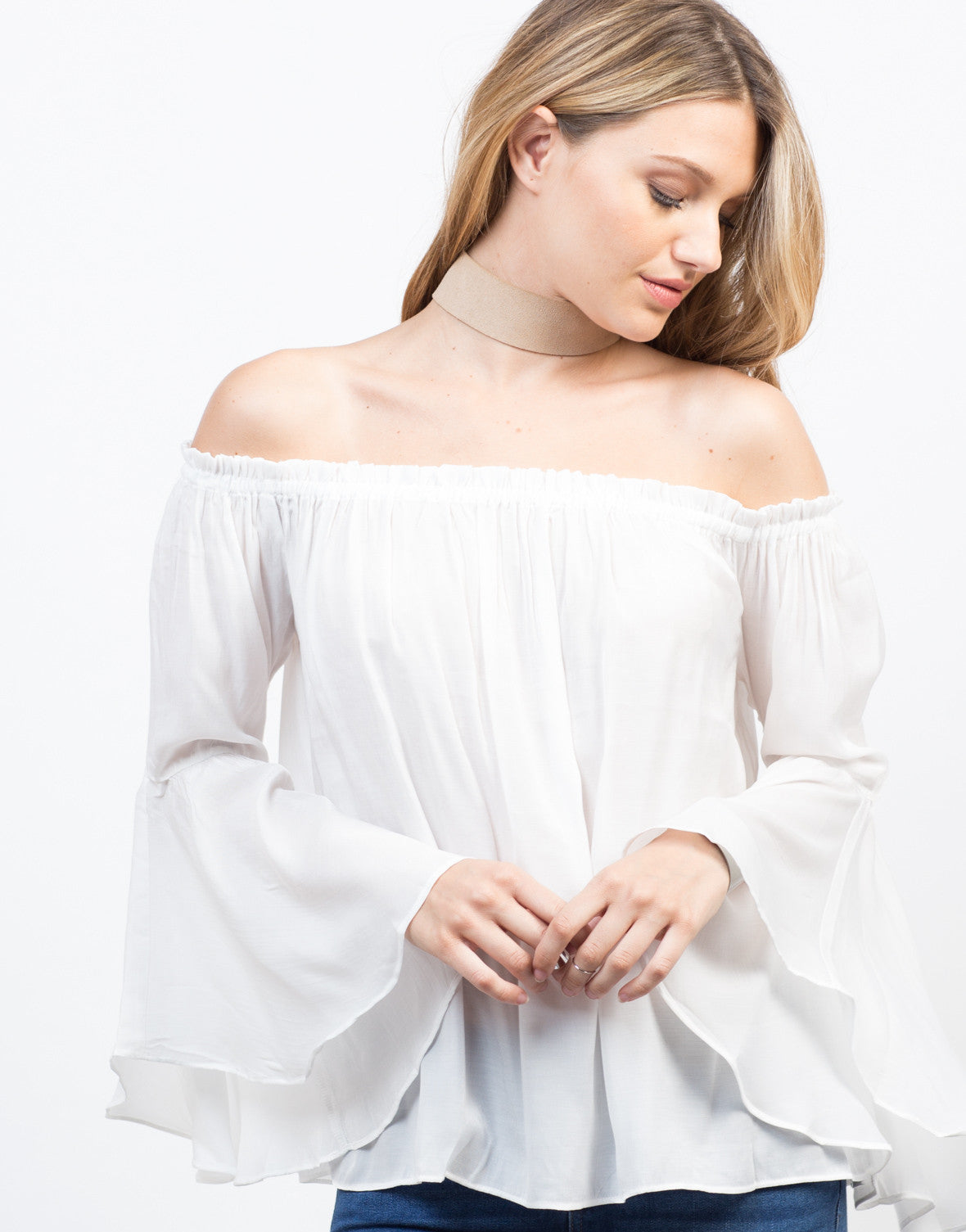 Detail of Flowy Bell Sleeved Top