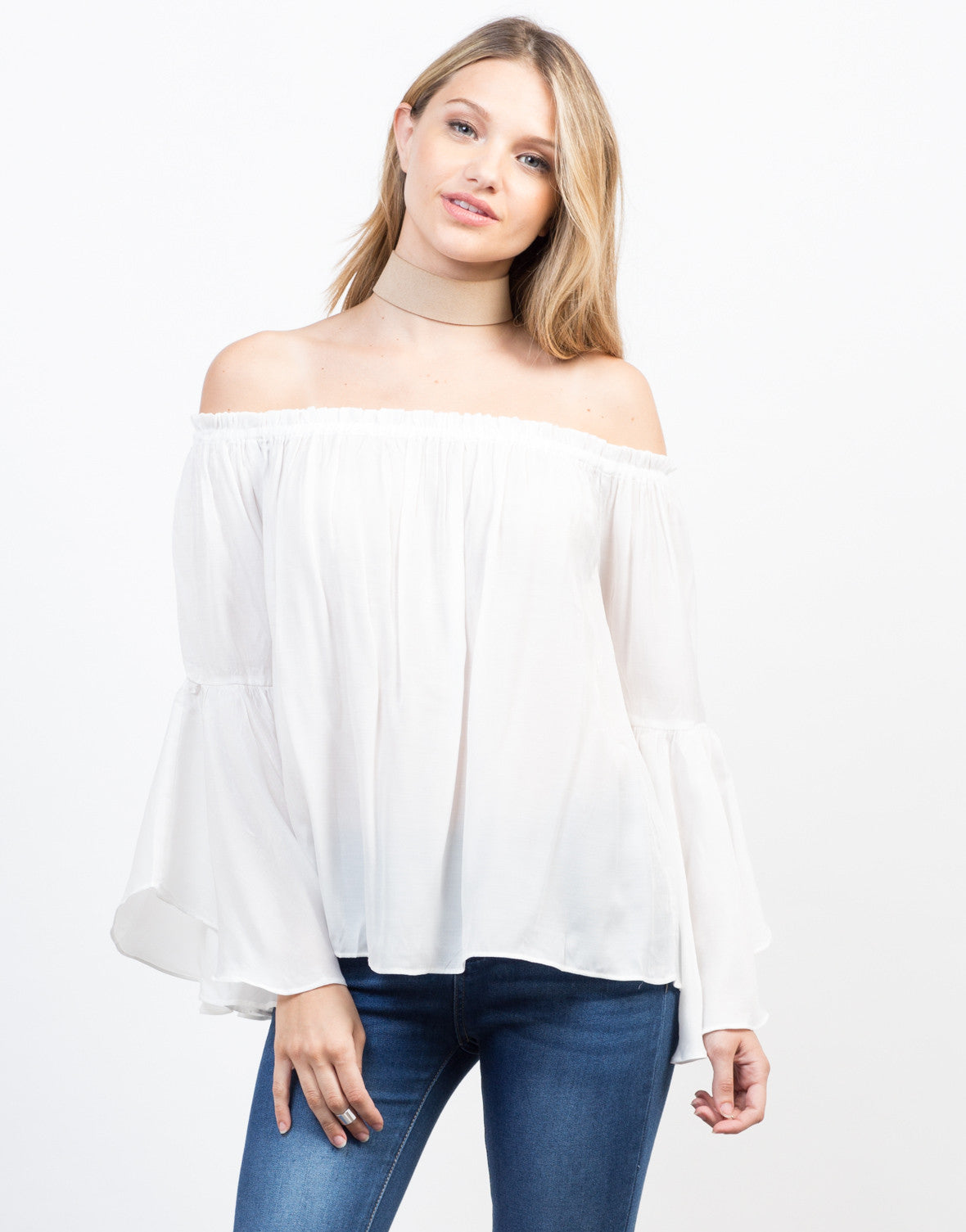 Front View of Flowy Bell Sleeved Top