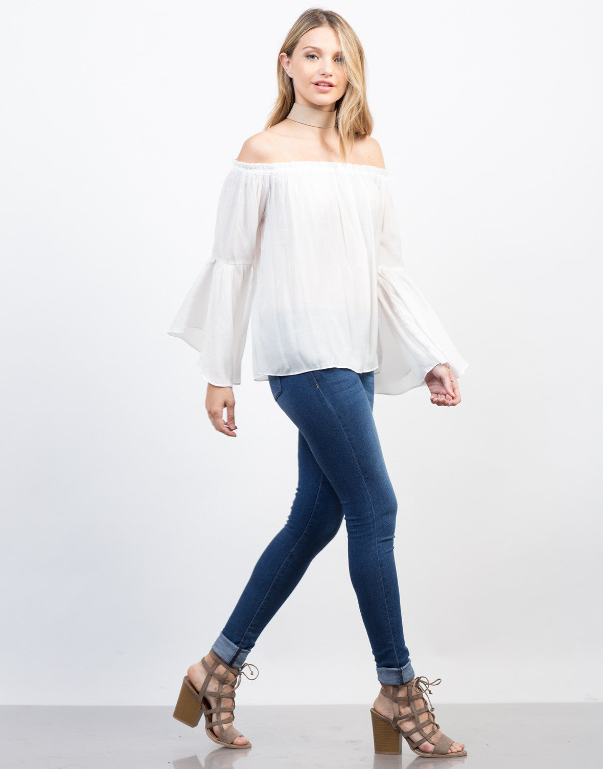 Side View of Flowy Bell Sleeved Top