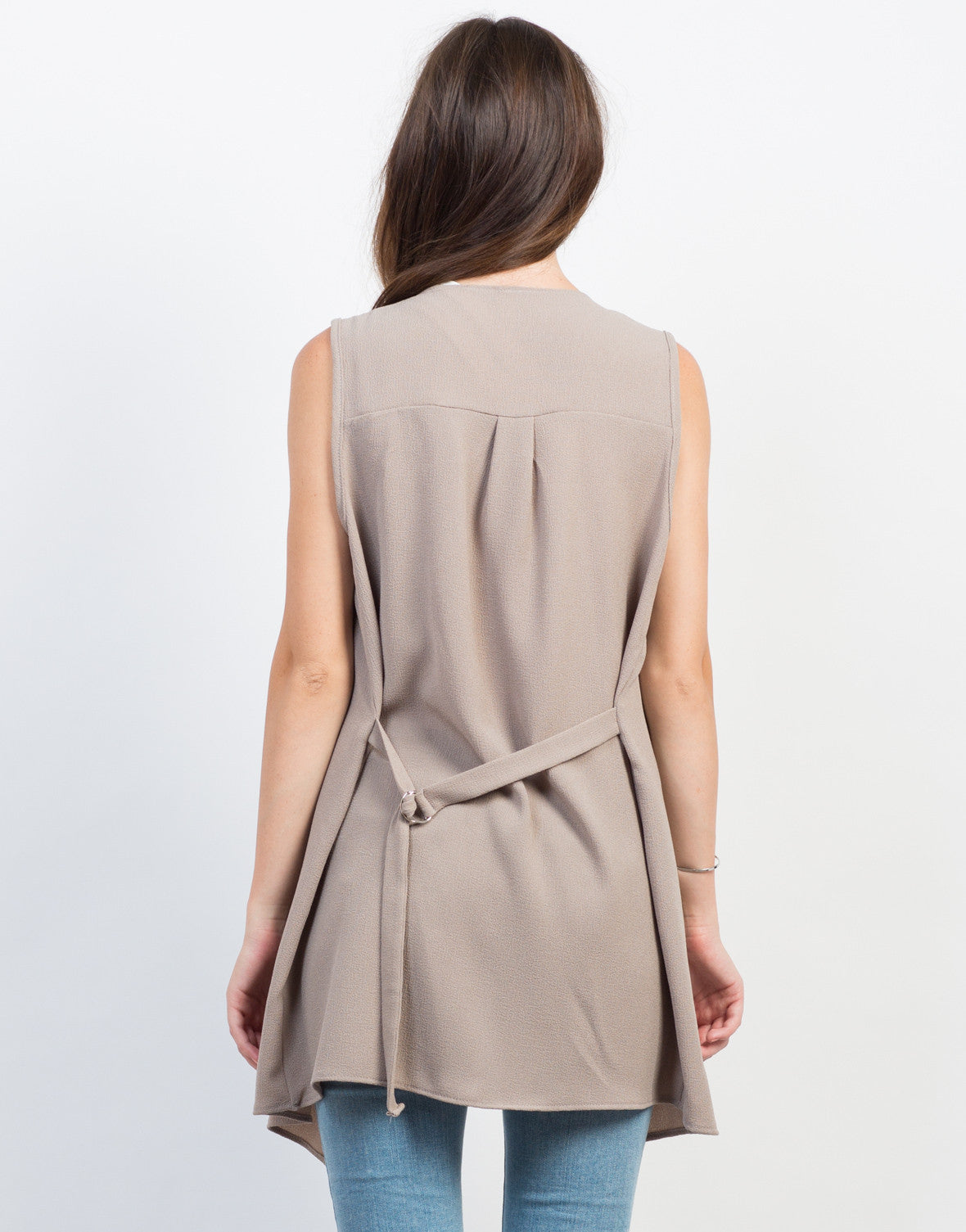 Back View of Flowy Belted Vest