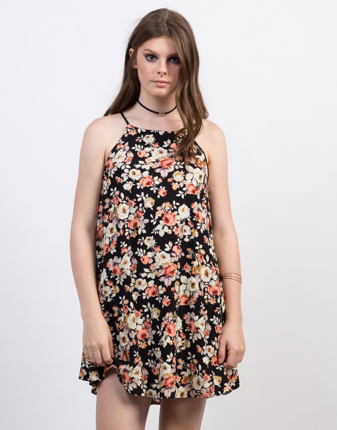 Front View of Flowy Bib Neck Floral Dress