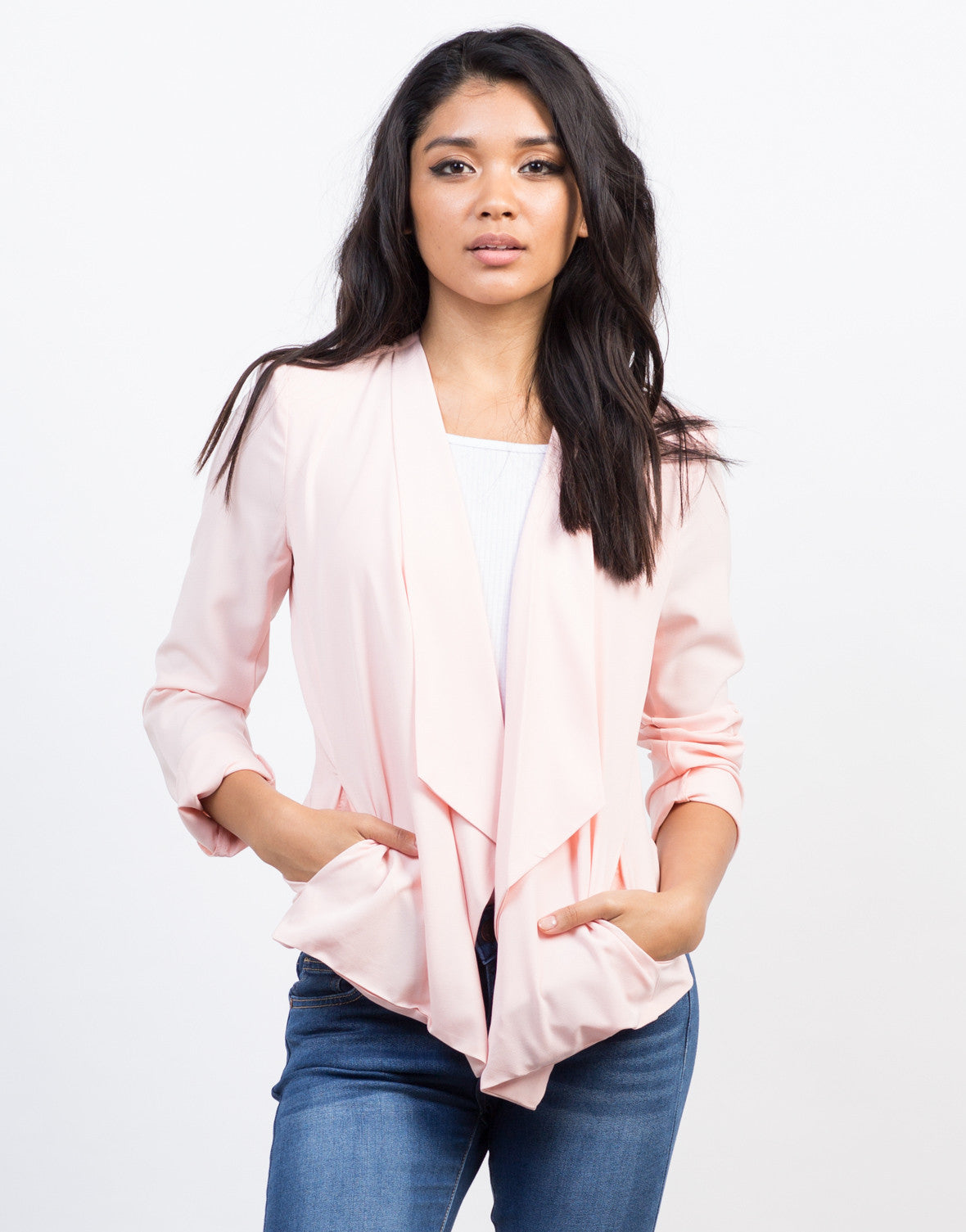 Front View of Flowy Blazer Jacket