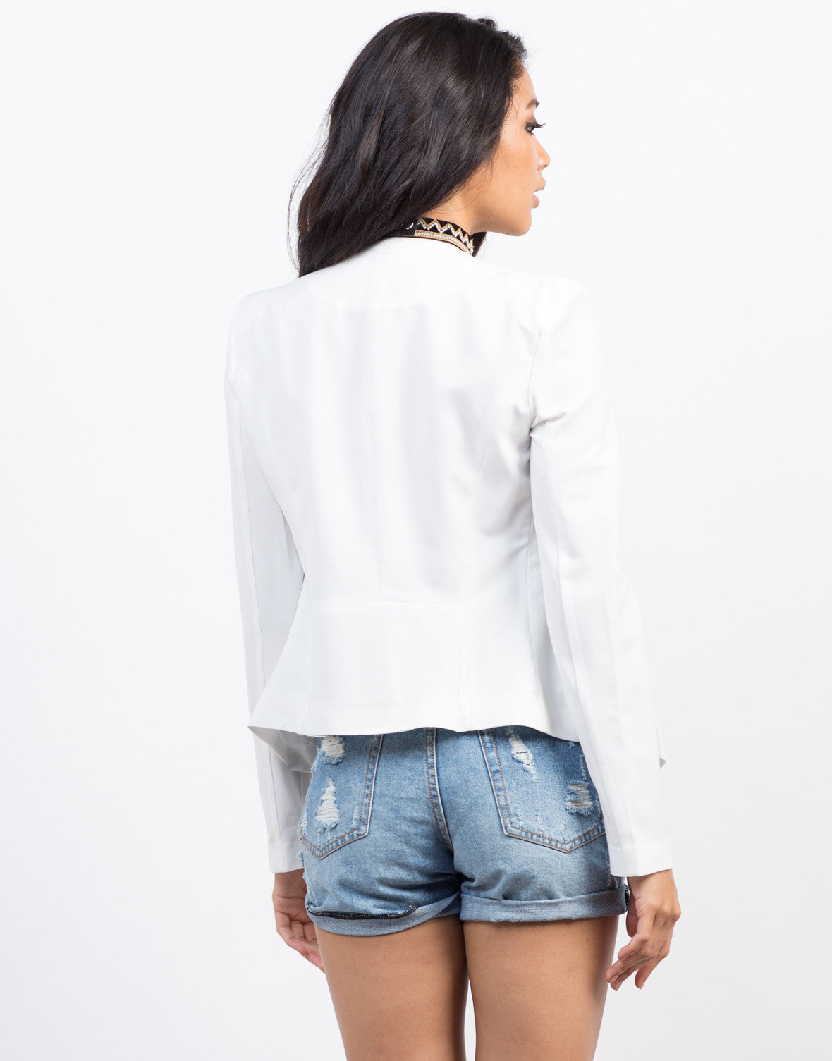 Back View of Flowy Blazer Jacket