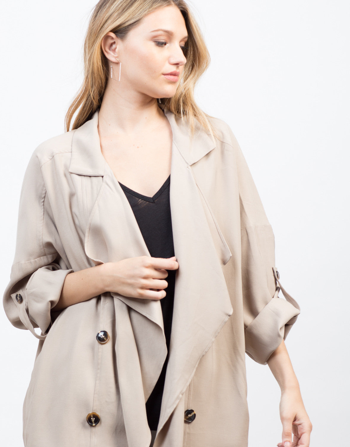 Detail of Flowy Buttoned Trench Jacket