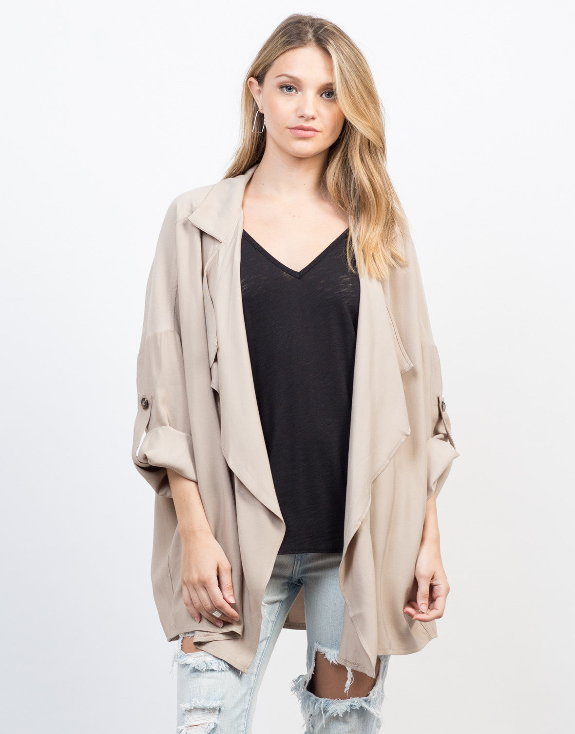 Front View of Flowy Buttoned Trench Jacket