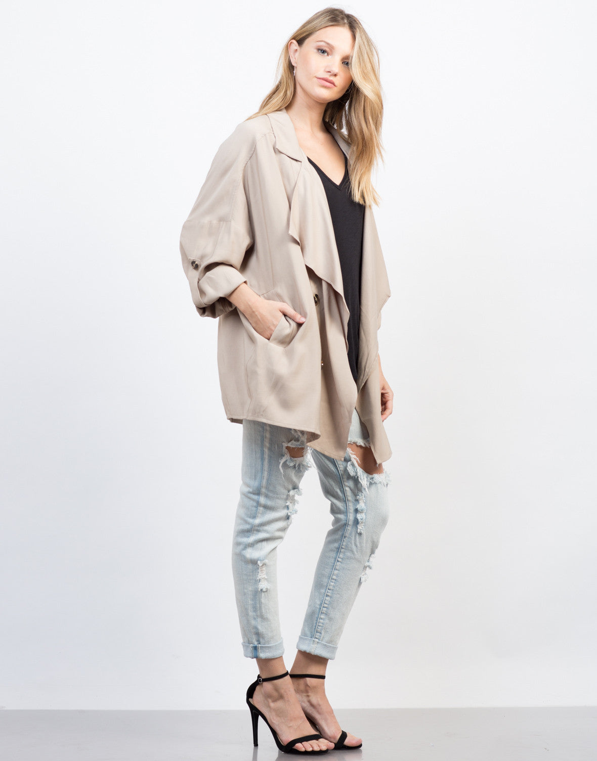 Side View of Flowy Buttoned Trench Jacket