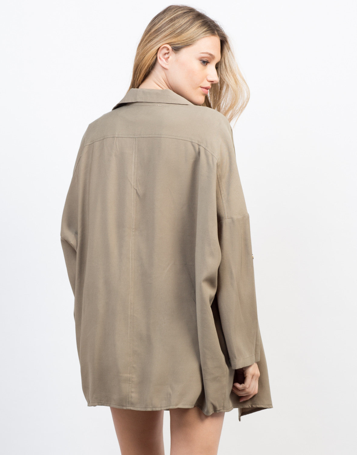 Back View of Flowy Buttoned Trench Jacket