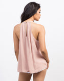 Back View of Flowy Cami Gauze Top