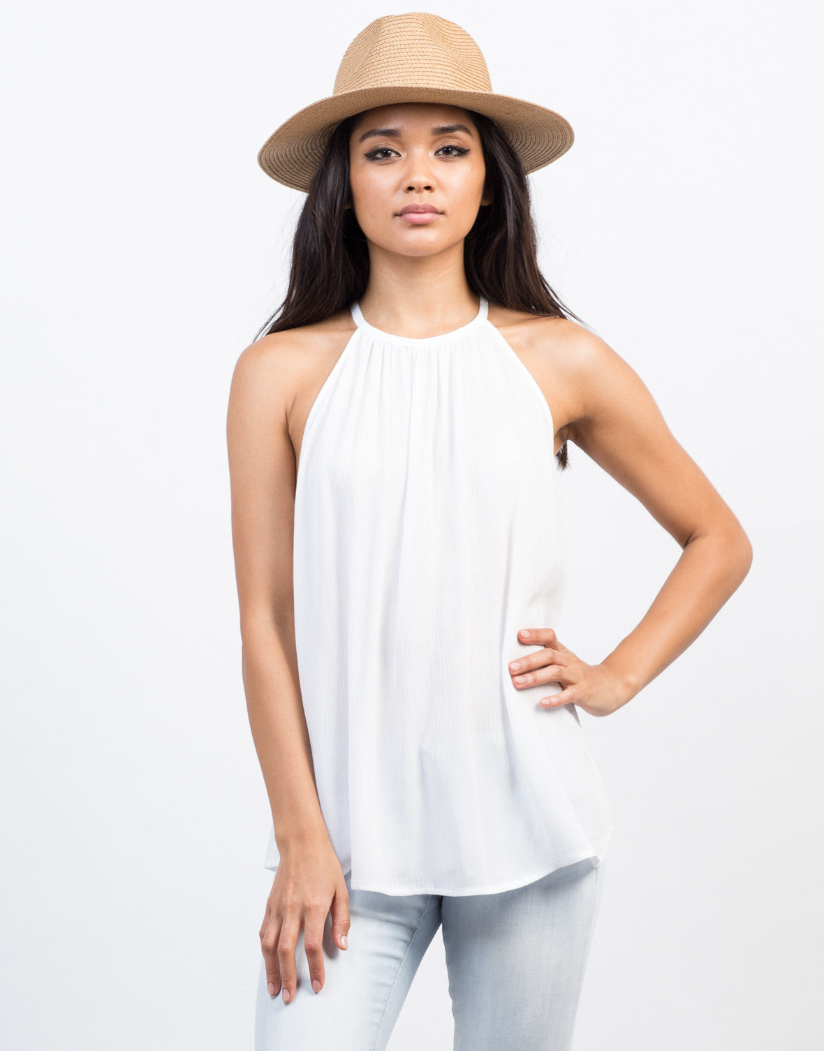 Front View of Flowy Cami Gauze Top