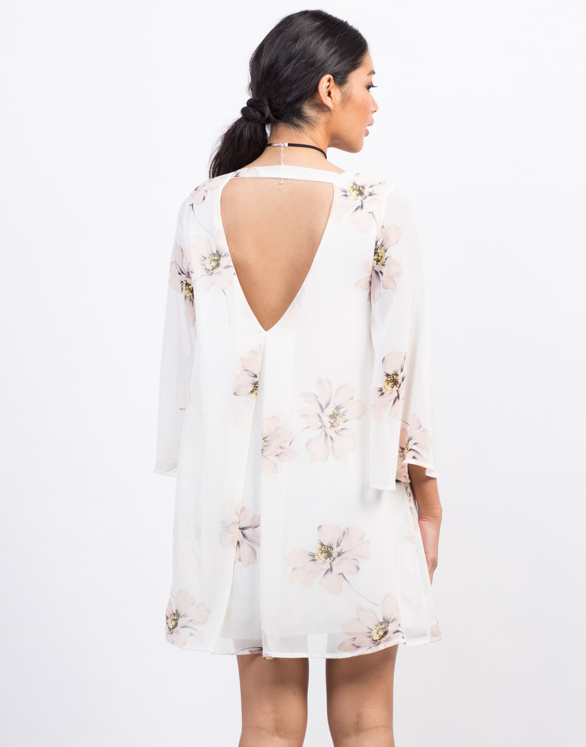 Back View of Flowy Chiffon Floral Shift Dress