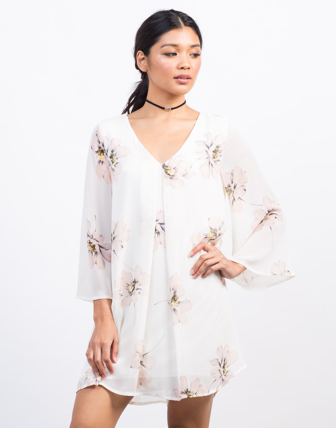 Front View of Flowy Chiffon Floral Shift Dress