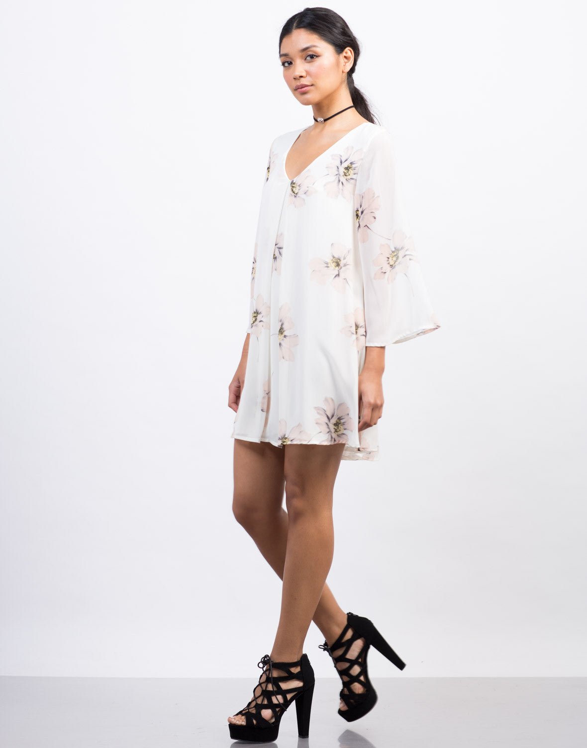 Side View of Flowy Chiffon Floral Shift Dress