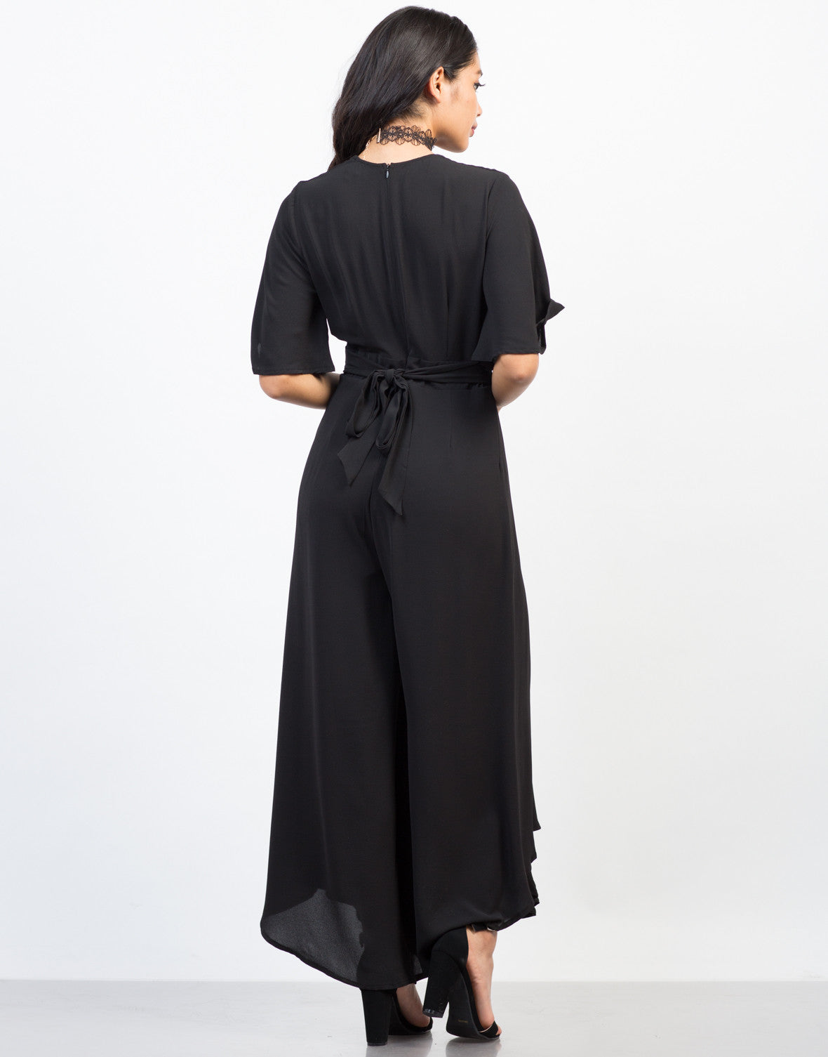 Back View of Flowy Chiffon Jumpsuit