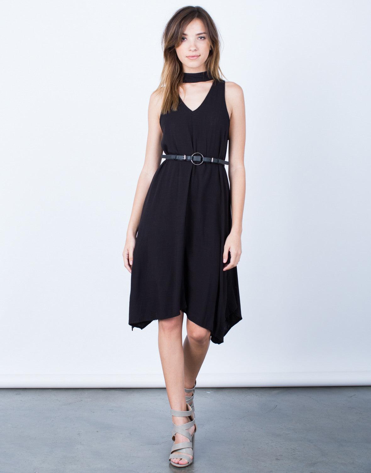 Front View of Flowy Choker Dress