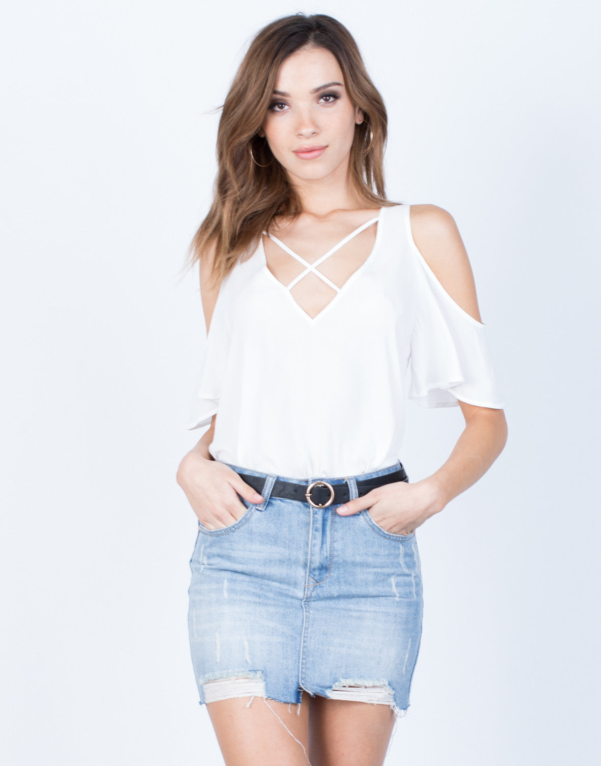 Front View of Flowy Cold Shoulder Blouse