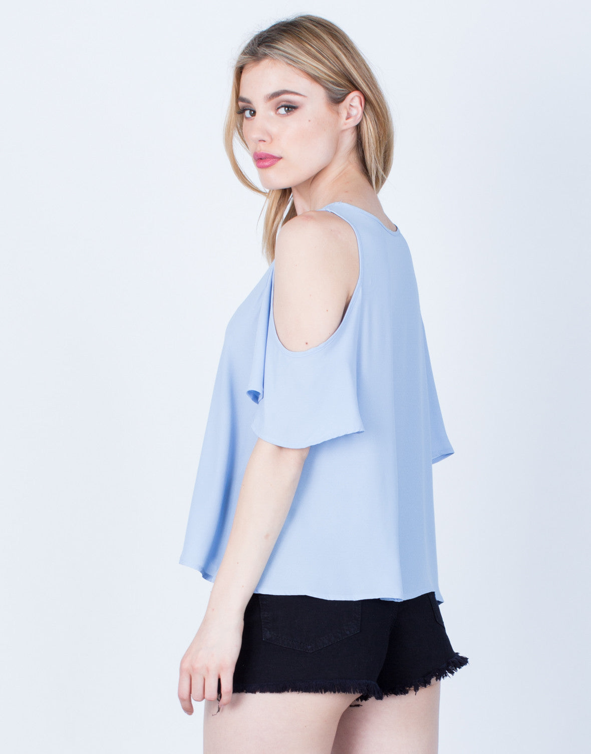 Back View of Flowy Cold Shoulder Blouse