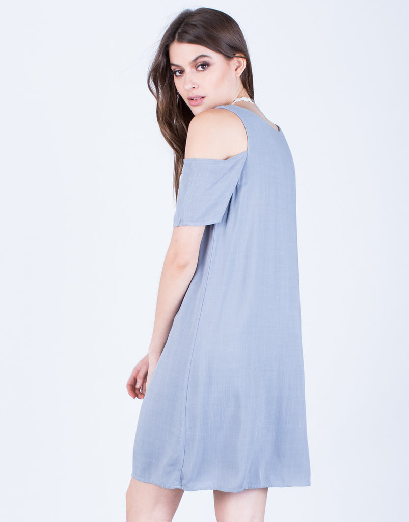 Back View of Flowy Cold Shoulder Dress
