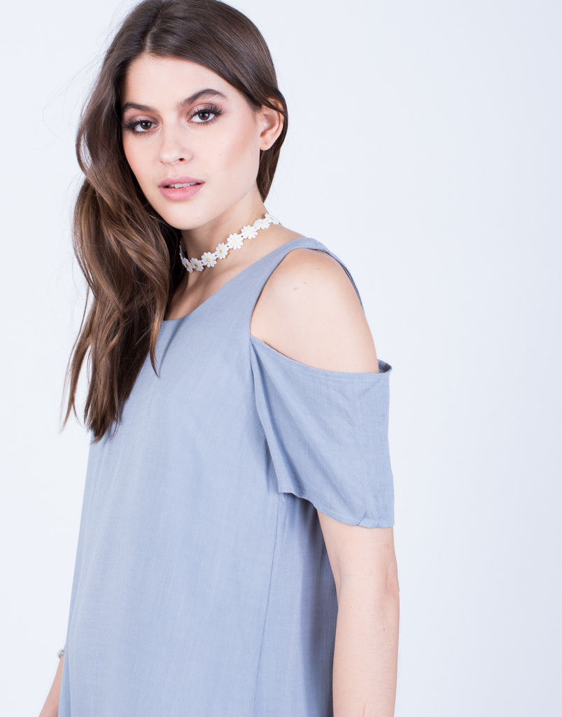 Detail of Flowy Cold Shoulder Dress