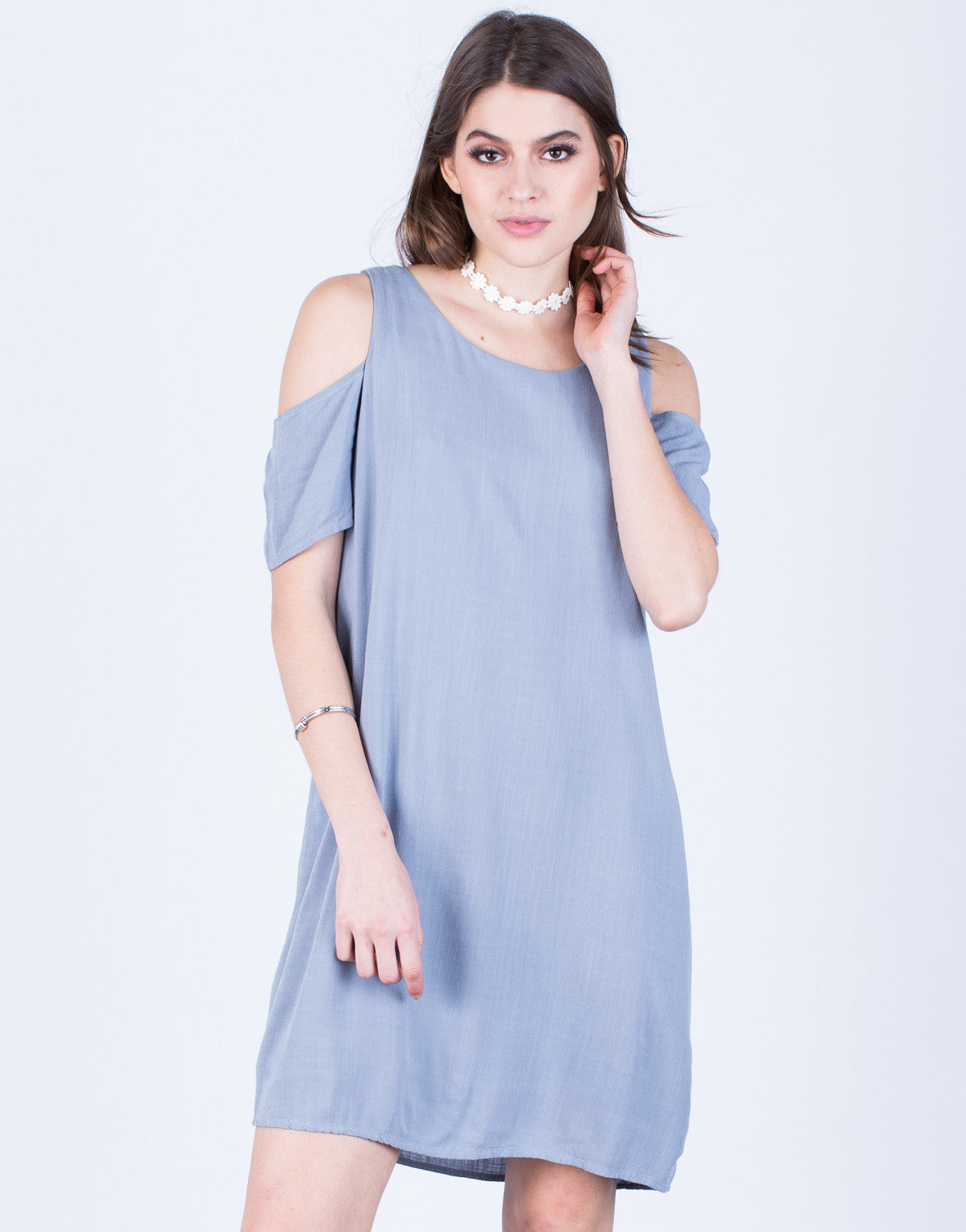 Front View of Flowy Cold Shoulder Dress