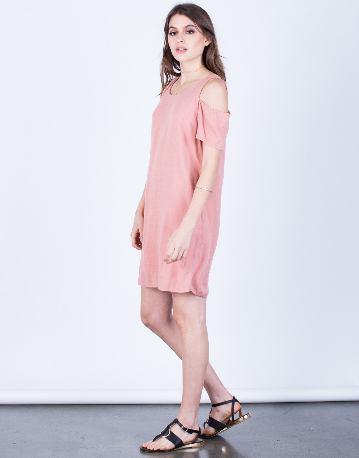 Side View of Flowy Cold Shoulder Dress