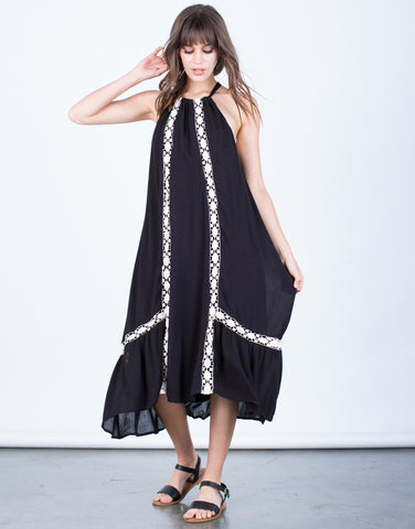 Front View of Flowy Crochet Lined Dress