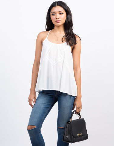 Front View of Flowy Crochet Trim Tank