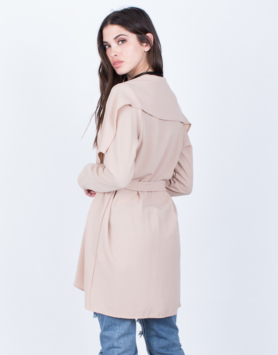 Back View of Flowy Draped Waist Tie Jacket