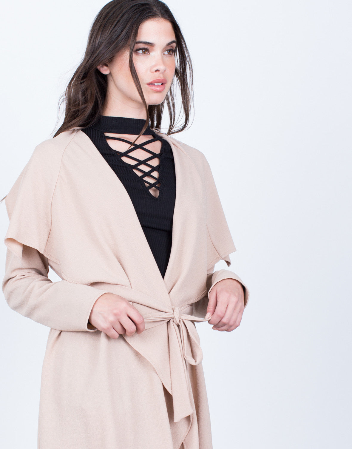 Detail of Flowy Draped Waist Tie Jacket
