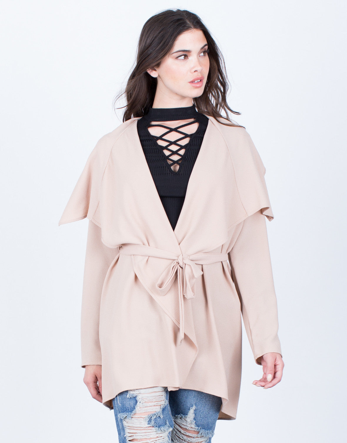 Front View of Flowy Draped Waist Tie Jacket