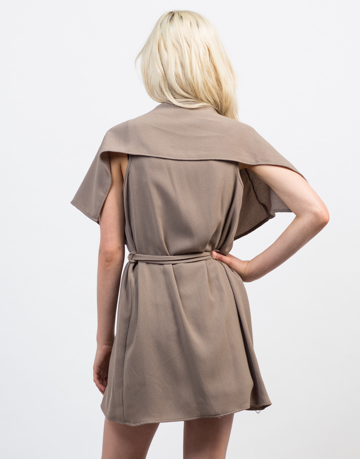 Back View of Flowy Drapey Belted Vest