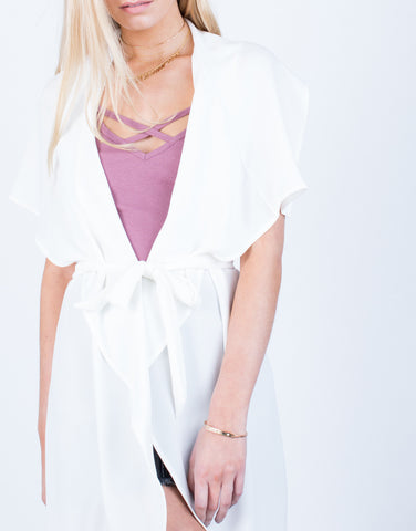 Detail of Flowy Drapey Trench Jacket