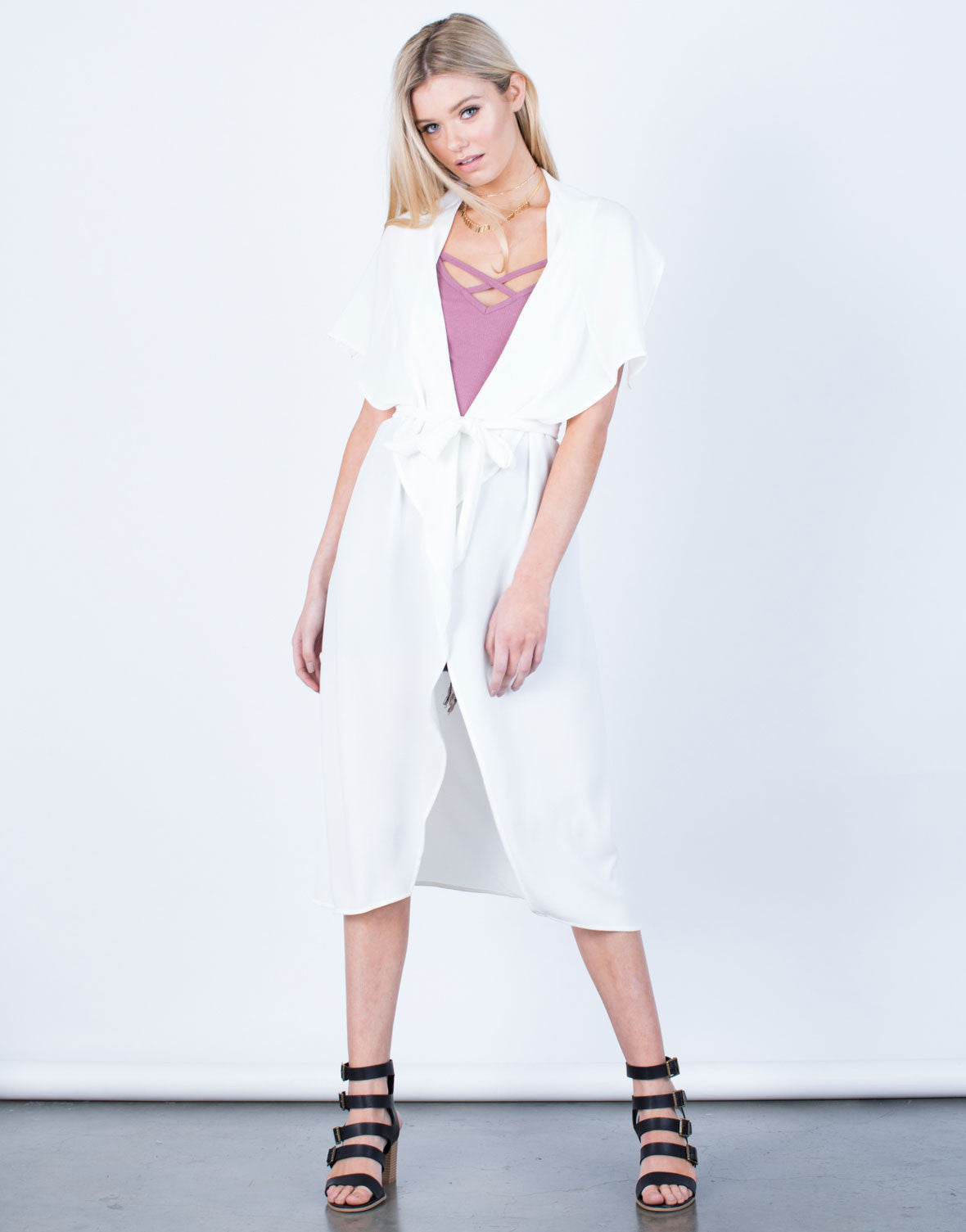 Front View of Flowy Drapey Trench Jacket