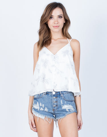 Front View of Flowy Embroidered Cami