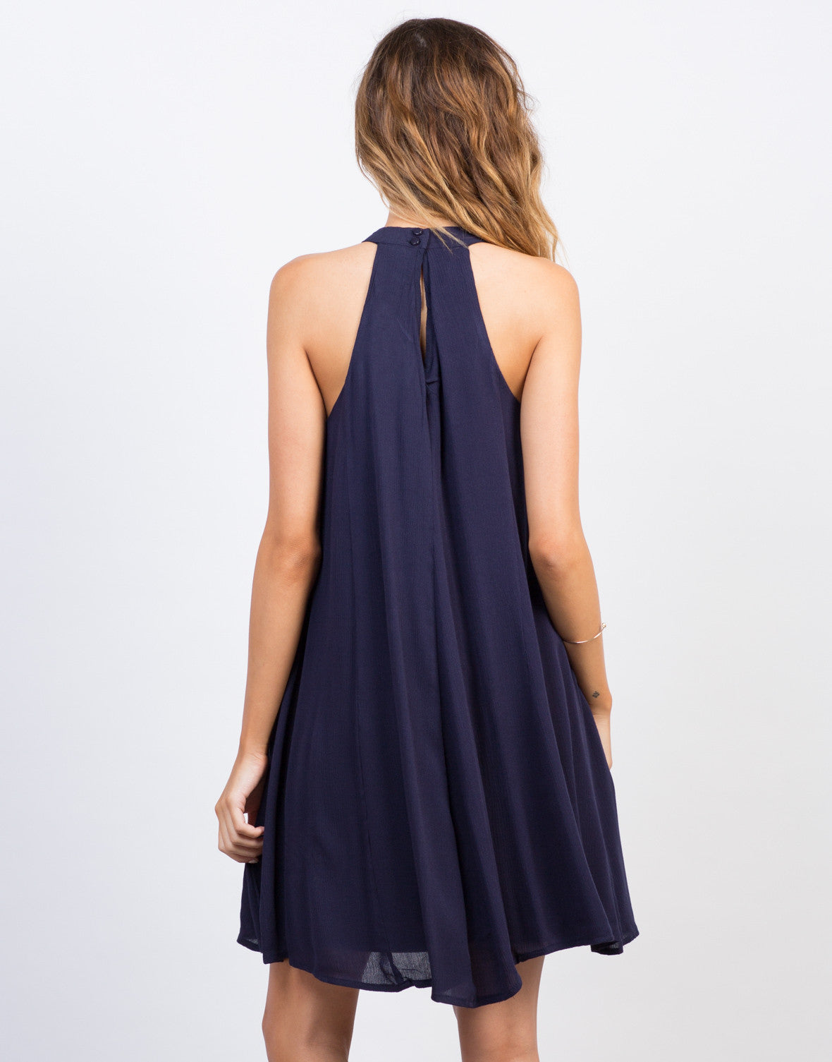 Back View of Flowy Embroidered Fringe Dress