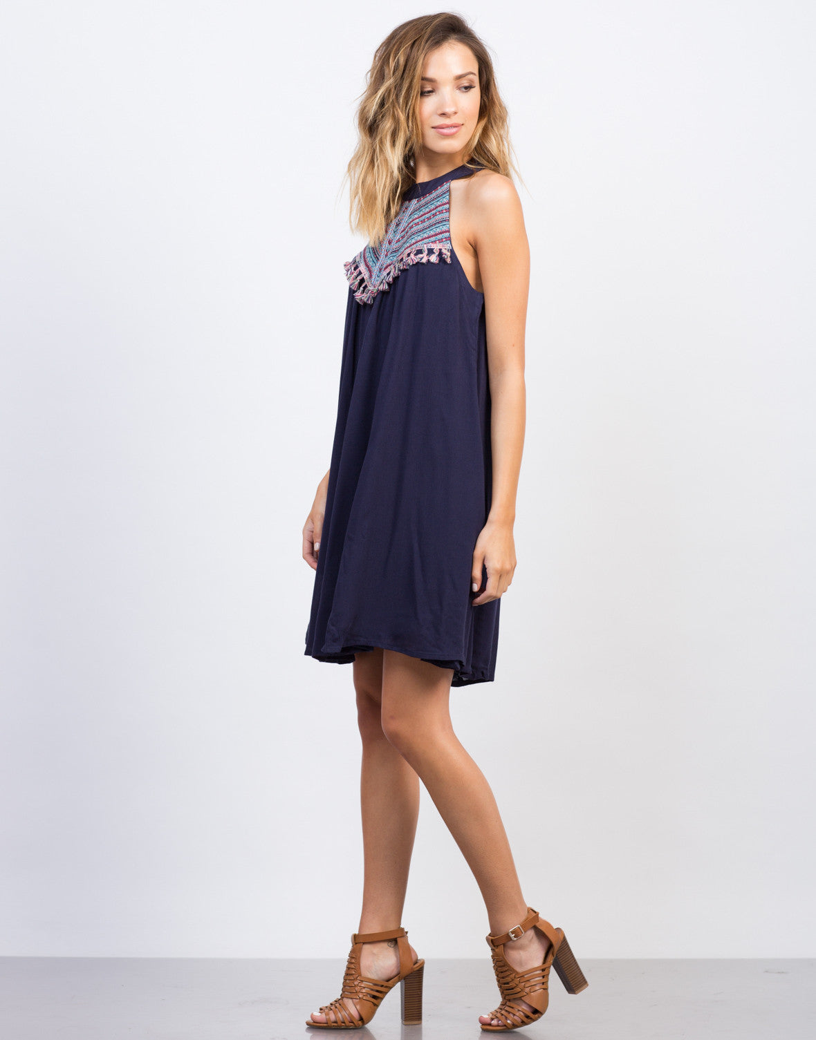 Side View of Flowy Embroidered Fringe Dress