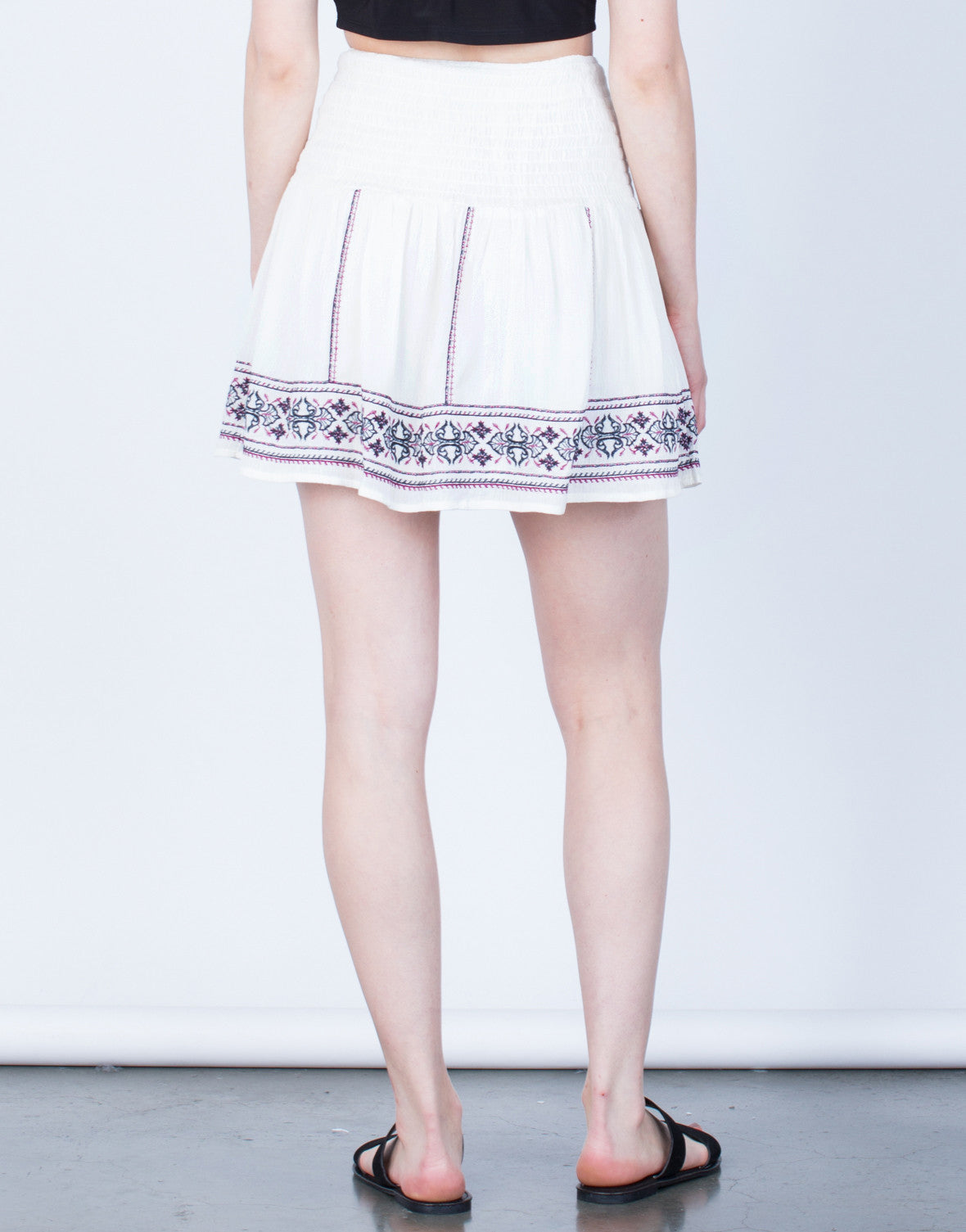 Back View of Flowy Embroidered Skirt
