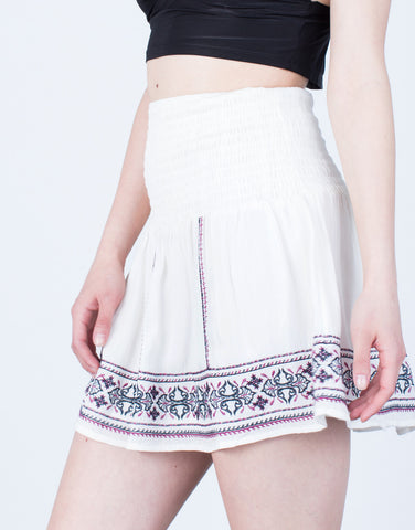 Detail of Flowy Embroidered Skirt