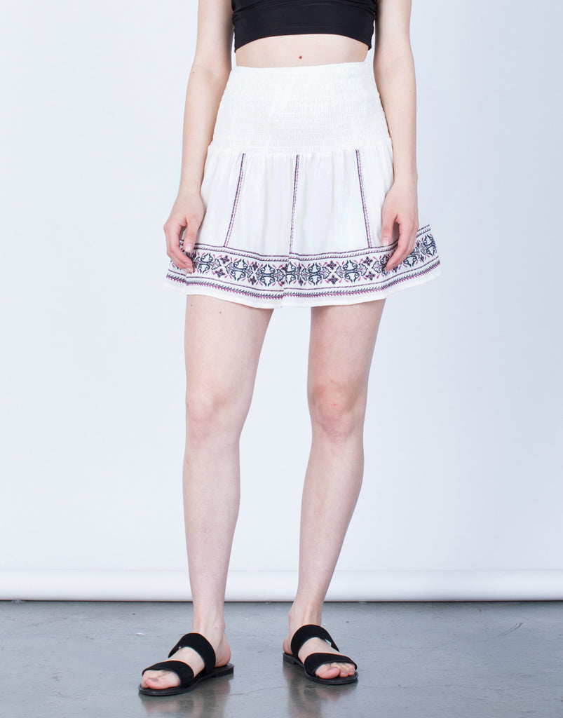Front View of Flowy Embroidered Skirt