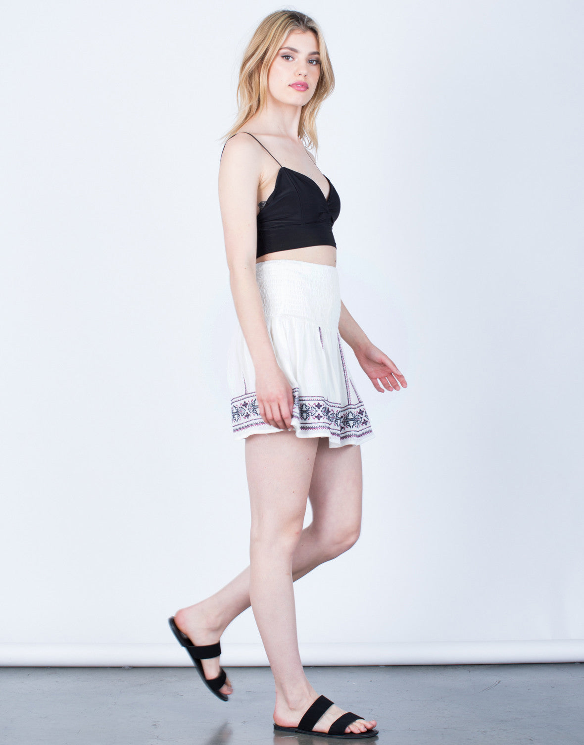Side View of Flowy Embroidered Skirt