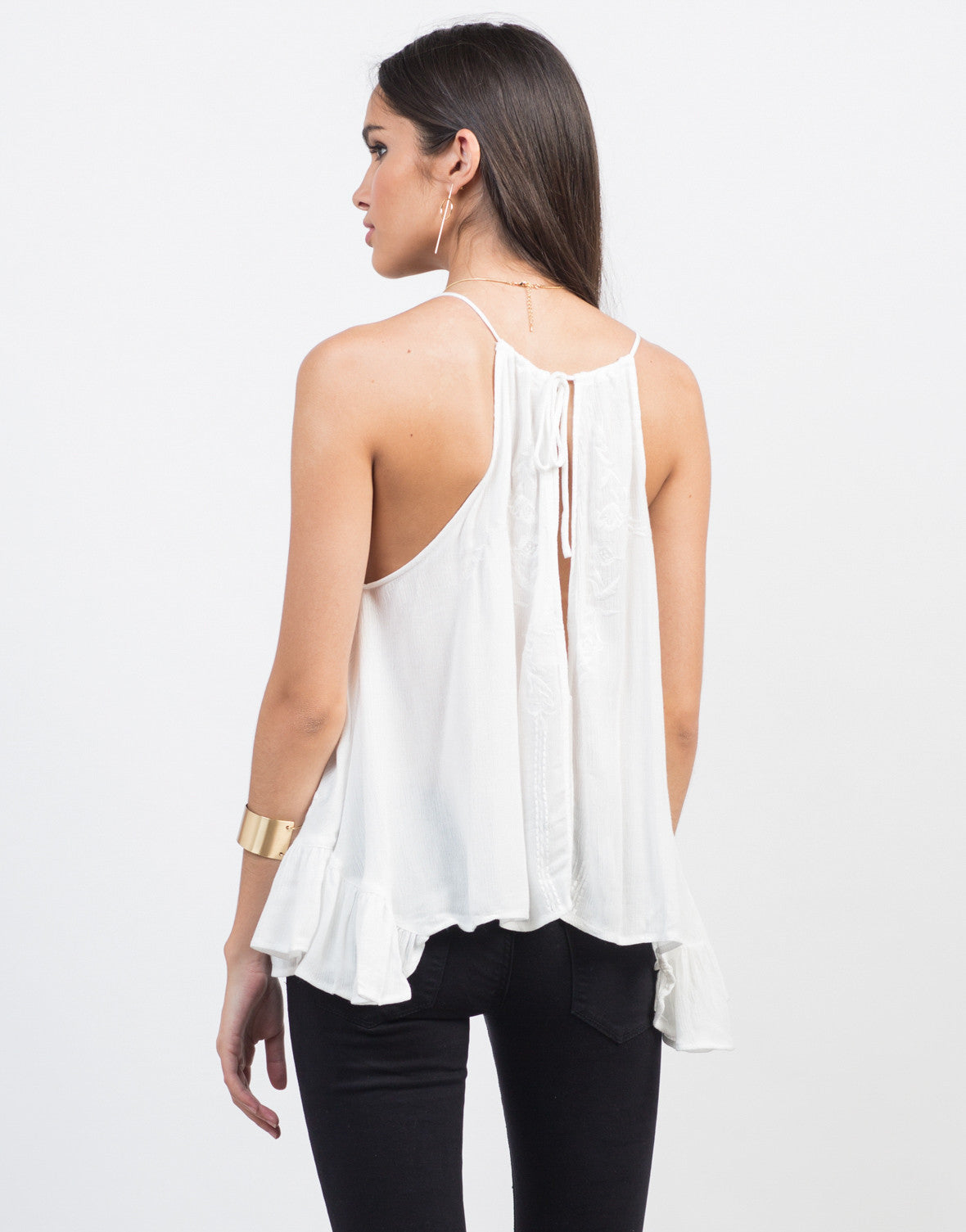 Back View of Flowy Floral Cami Top