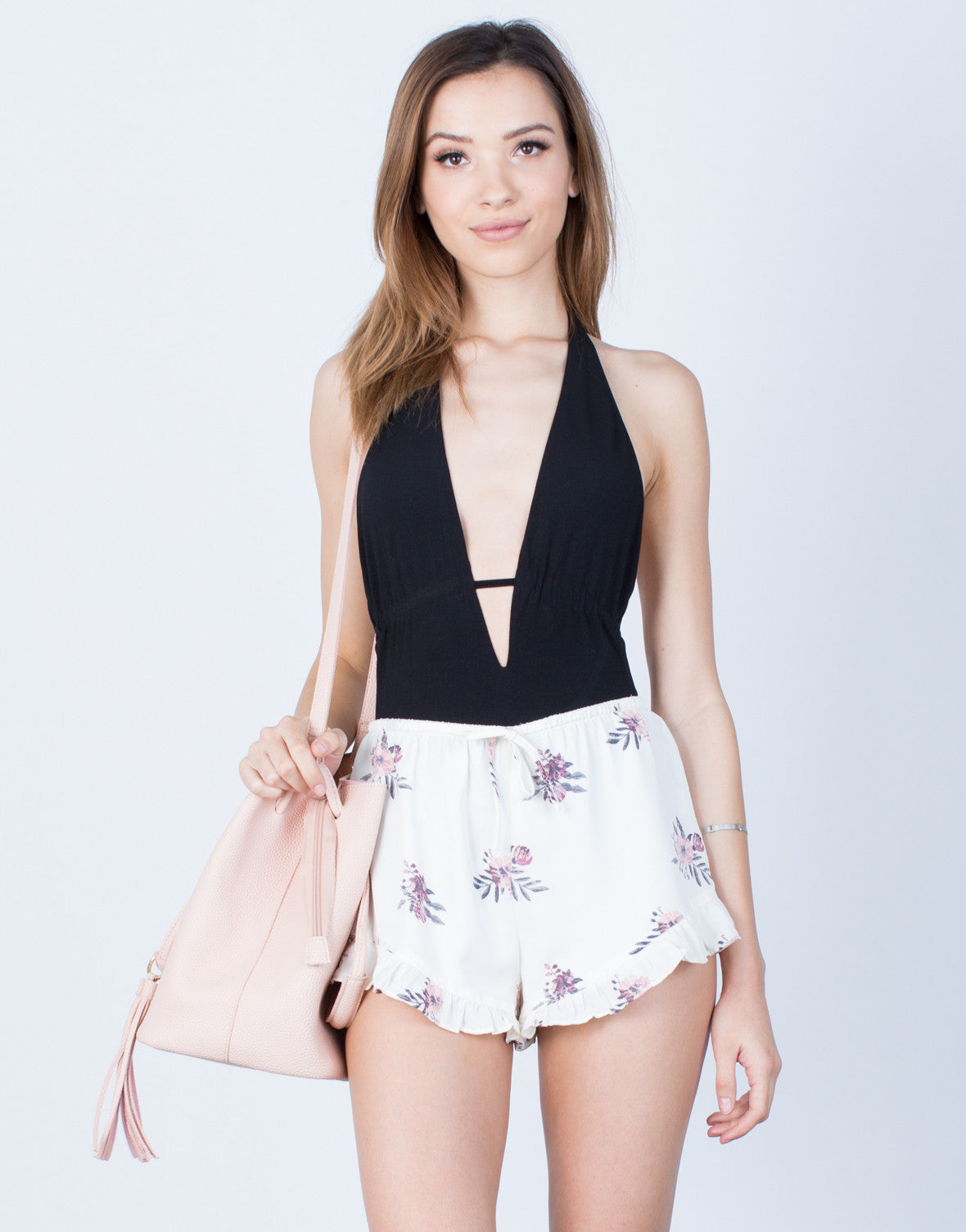 Front View of Flowy Floral Shorts