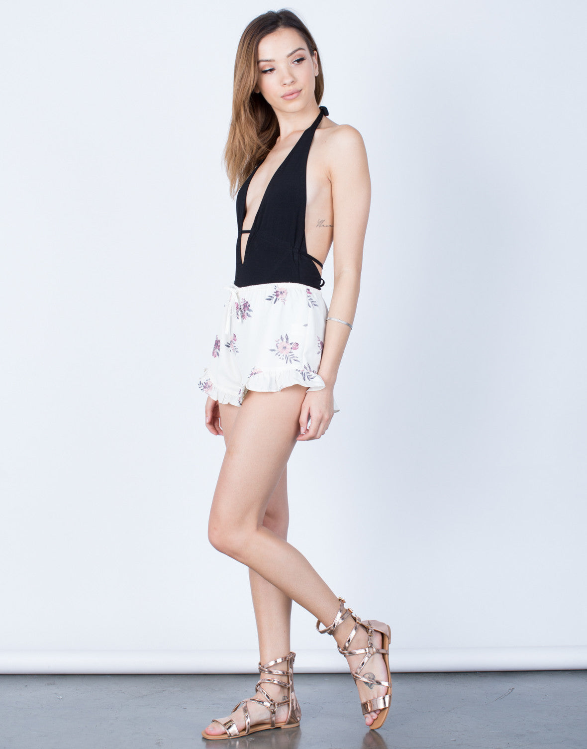 Side View of Flowy Floral Shorts