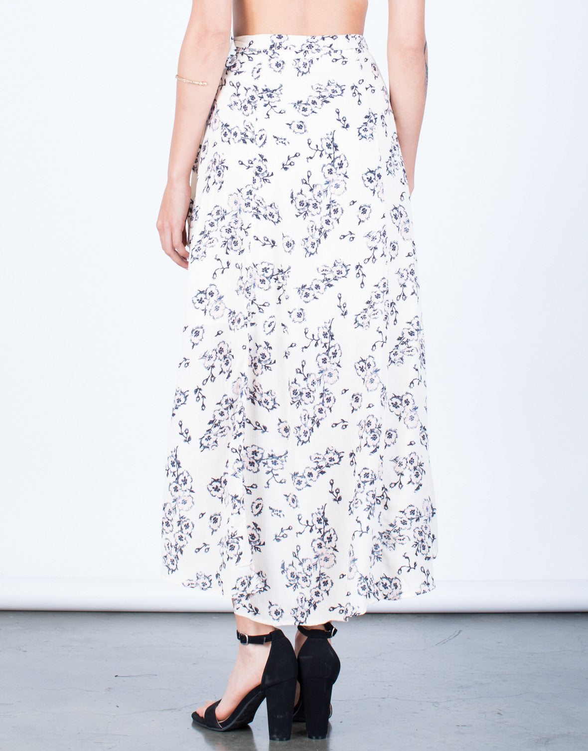 Back View of Flowy Floral Wrap Skirt