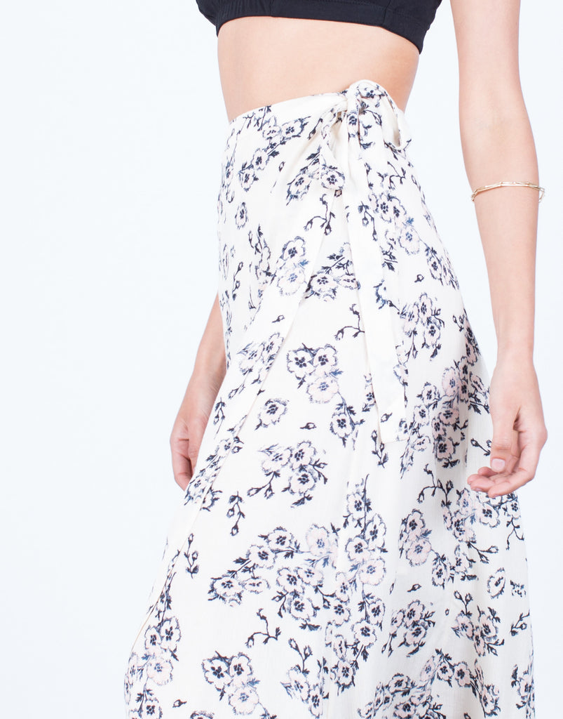 Detail of Flowy Floral Wrap Skirt